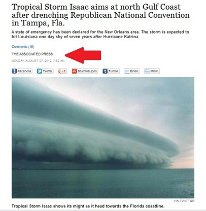 hurricane isaac - associated press sites using fake picture without proper credit
