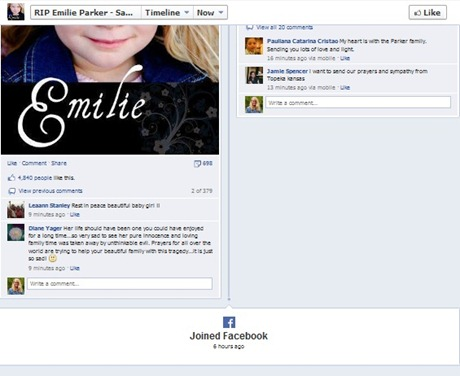 emilie parker fake facebook page thumb For Real: Exploiting Sandy Hook Victims for Profit
