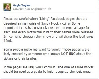 sandy hook fake facebook pages status update
